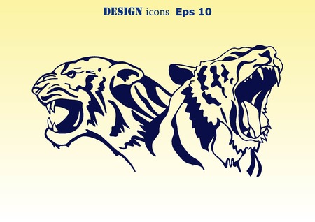 predatory: Vector illustration of an evil, savage, aggressive tiger. Predatory, dangerous beast. Angry Tiger.