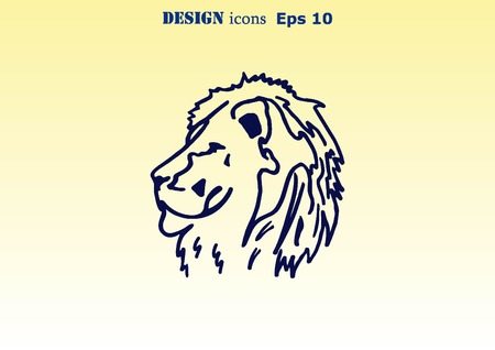 ferocious: Vector illustration of the evil head, ferocious, aggressive lion. Predatory, dangerous beast. Angry lion.