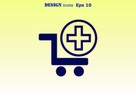 eshop: Shopping trolley, cart icon, On line sale icon Stock Photo