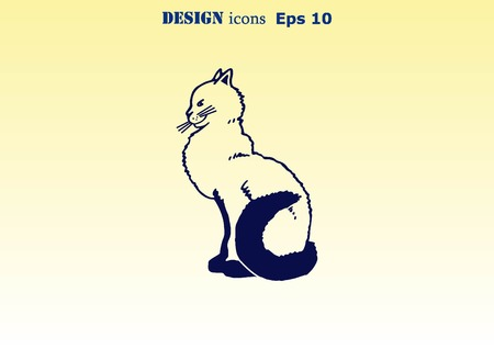 lick: Cat icon, Vector illustration. Illustration
