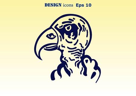 predatory: Vector illustration of the evil head, ferocious, aggressive vulture. Predatory, dangerous beast. Angry Eagle.