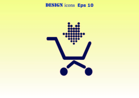Shopping trolley, cart icon, On line sale icon Vectores