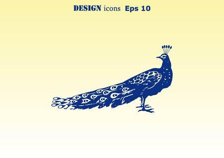 Oiseau icône. Peacock illustration vectorielle.