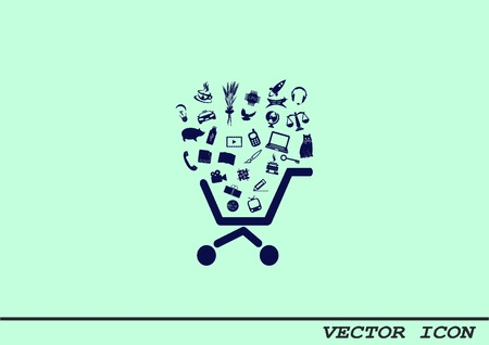 Shopping trolley, cart icon, On line sale icon