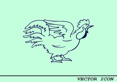 fowls: Poultry icon. Vector illustration. Chicken icon. Rooster icon.
