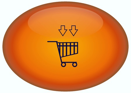 Shopping trolley, cart icon, On line sale icon Stock Photo
