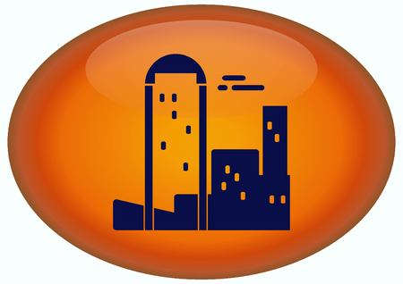 City silhouette icon. Vector Illustration. City landscape. Stock Photo
