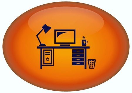 protecting your business: Computer on the table icon. Workplace programmer icon. Stock Photo