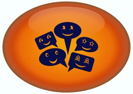 an announcement message: Smile talking bubble icon, vector illustration. Flat design style