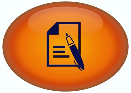 Document determining identity icon. Stock Photo