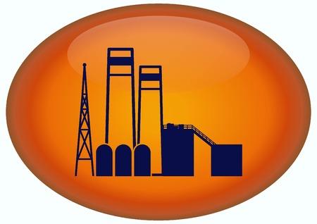 paesaggio industriale: Fabbrica silhouette icona. Illustrazione vettoriale. Paesaggio industriale. Industria pesante. Archivio Fotografico