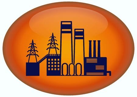 factory silhouette: Factory silhouette icon. Vector Illustration. Industrial landscape. Heavy industry. Stock Photo