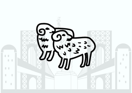 flock: Vector illustration of a sheep. Flock of sheep. sheep. Illustration
