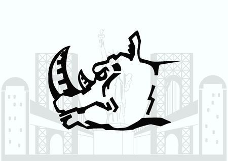 predatory: Vector illustration of the evil head, ferocious, aggressive rhino.  Predatory, dangerous beast. Angry rhino. Illustration