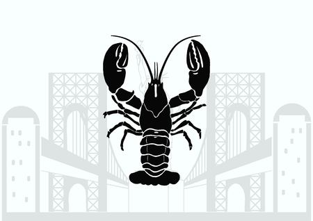 crabby: Lobster, cancer icon. Vector illustration. graphics, seafood. Marine reptile.