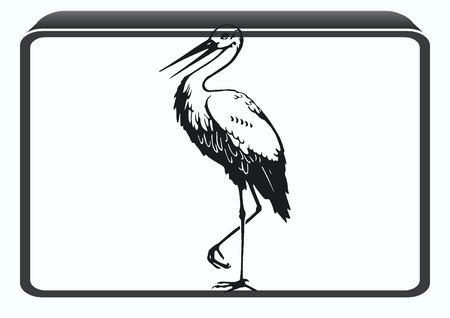 barn swallow: Bird icon. Heron, Stork vector illustration.