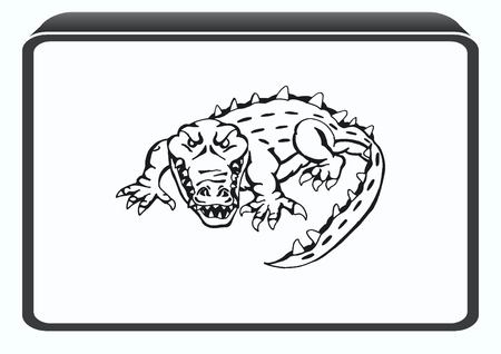 ferocious: Vector illustration of the evil head, ferocious, aggressive crocodile. Predatory, dangerous beast. Angry alligator, caiman. Illustration