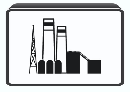 heavy: Factory silhouette icon. Vector Illustration. Industrial landscape. Heavy industry. Illustration