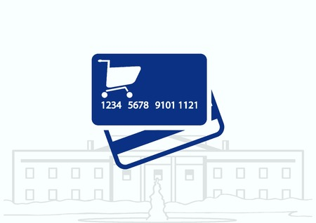 data entry: Corporate card icon, credit card icon, vector illustration. Flat design style