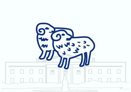 Vector illustration of a sheep. Flock of sheep. sheep. Illustration