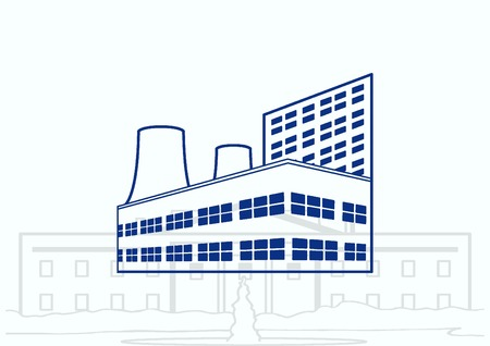 silhouette industrial factory: Factory silhouette icon. Vector Illustration. Industrial landscape. Heavy industry. Illustration