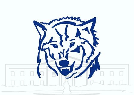 dog bite: Wolf icon, vector illustration. Illustration
