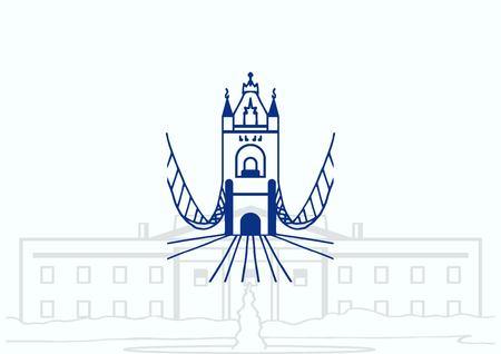City silhouette icon. Vector illustration.  Bridge over river. City landscape.