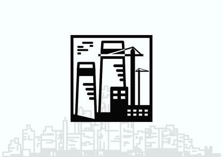 paesaggio industriale: Factory silhouette icon. Vector Illustration. Industrial landscape. Heavy industry logo.