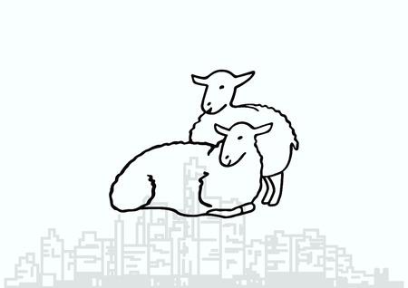 pasen schaap: Vector illustratie van een schaap. Schaapskudde. sheep logo. Stock Illustratie