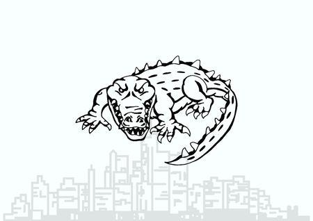 predatory: Vector illustration of the evil head, ferocious, aggressive crocodile. Predatory, dangerous beast. Angry alligator, caiman. Illustration