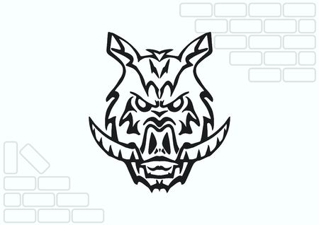 predatory: Vector illustration of the evil head, ferocious, aggressive boar. Predatory, dangerous beast. Angry wild boar. piggy web icon.