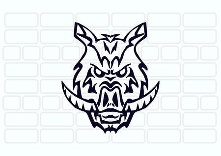 ferocious: Vector illustration of the evil head, ferocious, aggressive boar. Predatory, dangerous beast. Angry wild boar. piggy web icon.