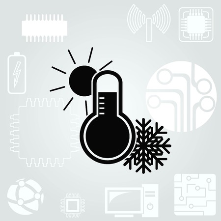 coldness: Thermometer icon Illustration