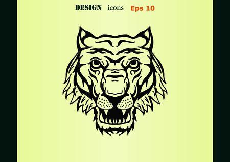 predatory: Vector illustration of an evil, savage, aggressive tiger. Predatory, dangerous beast.