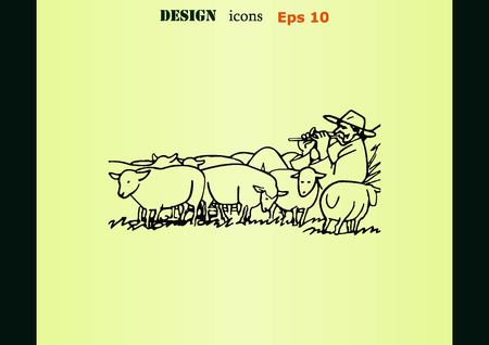 herding: Vector illustration of a sheep. Shepherd with flock of sheep. A farmer herding sheep. farmer feeding sheep. Farmer playing the flute. Shepherd playing a pipe.