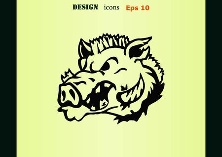 beast: Vector illustration of the evil head, ferocious, aggressive boar. Predatory, dangerous beast. Angry wild boar. piggy web icon.