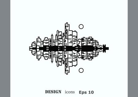 City silhouette icon. Vector Illustration.  City landscape. Illustration