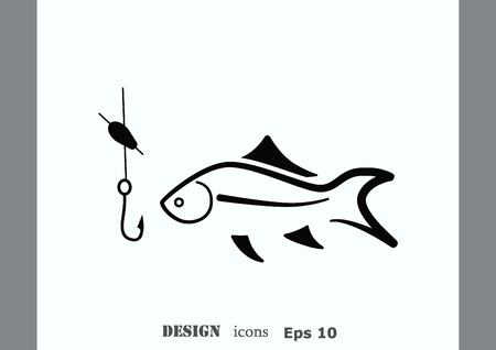 Fishing icon. Vector illustration. Иллюстрация