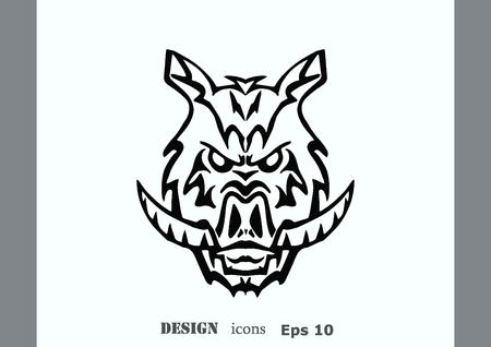 Vector illustration of the evil head, ferocious, aggressive boar. Predatory, dangerous beast. Angry wild boar. piggy web icon.