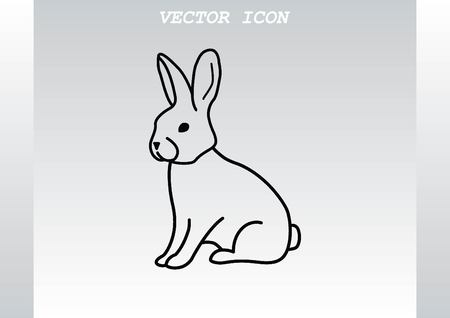 animal silhouettes: Vector illustration of a rabbit. Easter bunny line icon.