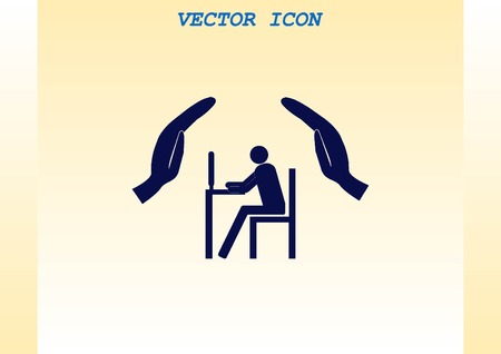 safeguards: Computer on the table icon. Workplace programmer icon. Illustration
