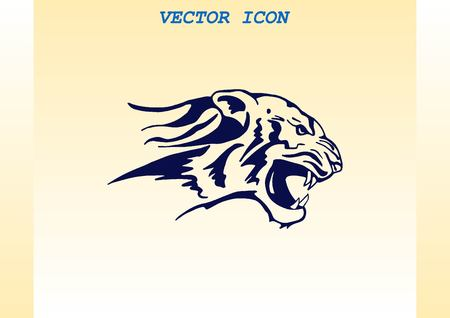 Vector illustration of an evil, savage, aggressive tiger. Predatory, dangerous beast.