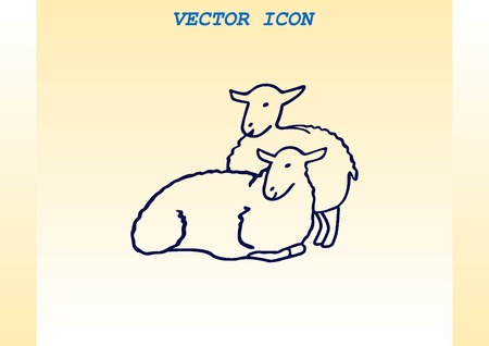 baa: Vector illustration of a sheep. Flock of sheep. Illustration