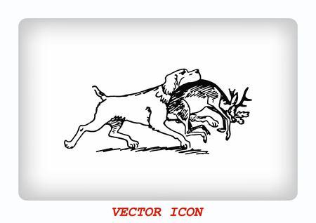 dog bite: Vector illustration of a dog. Aggressive purebred dog. Illustration