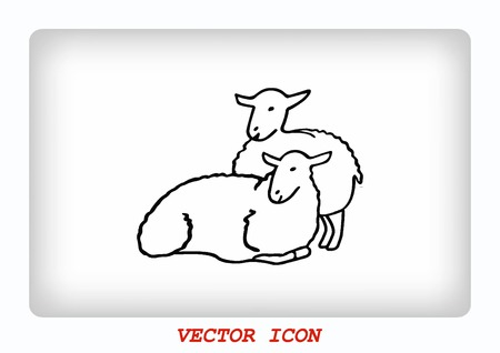 baa: Vector illustration of a sheep. Flock of sheep. sheep. Illustration