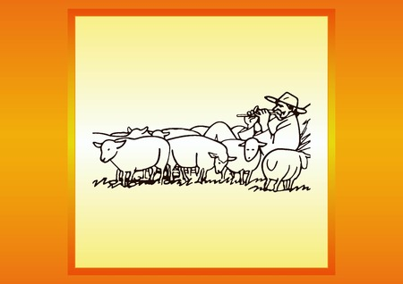 flock of sheep: Vector illustration of a sheep. Shepherd with flock of sheep. A farmer herding sheep. farmer feeding sheep. Farmer playing the flute. Shepherd playing a pipe.