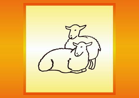 flock of sheep: Vector illustration of a sheep. Flock of sheep. sheep logo. Illustration