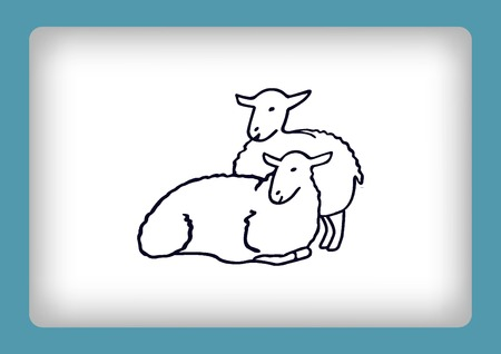 baa: Vector illustration of a sheep. Flock of sheep. sheep logo. Illustration