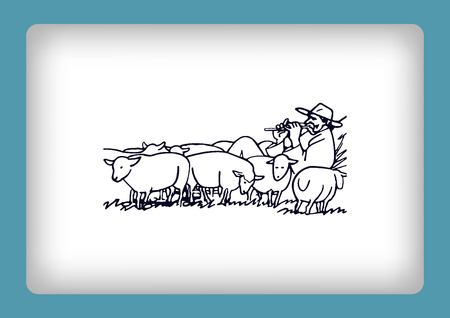 baa: Vector illustration of a sheep. Shepherd with flock of sheep. A farmer herding sheep. farmer feeding sheep. Farmer playing the flute. Shepherd playing a pipe.