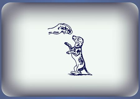ear protection: Vector illustration of a dog. Aggressive purebred dog. Illustration